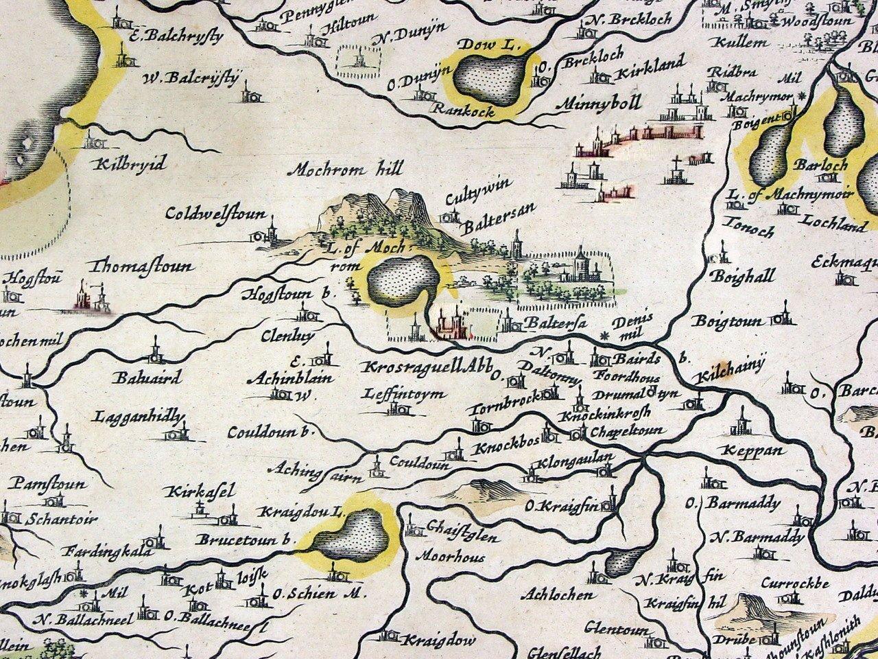 Blaeu 1654 Carrick Scotland Map