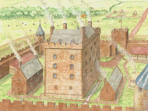 Reconstruction of garleton castle for Castle house plans with towers